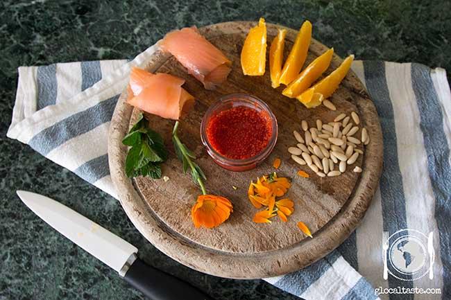 insalata-calendula-salmone-menta-pinoli