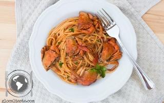 Spaghetti con granchi